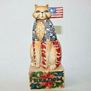 Liberty And Justice for all Jim Shore Cat Figurine